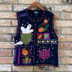 Vintage 1990s knit Halloween spooky vest