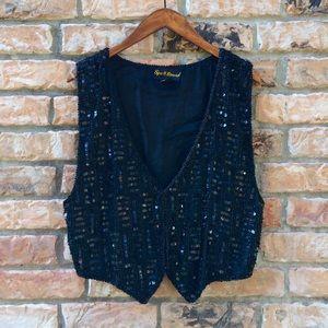 Vintage 1980s black sequin Spell Bound vest