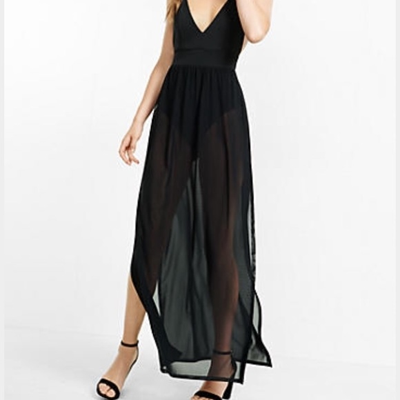 6a90348c6d9 Express Sheer Black Bodysuit Maxi Dress