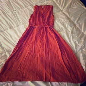 Burnt orange tie waist dress