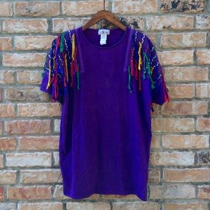 Vintage 1989s purple rainbow festival t-shirt