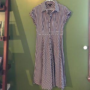 Navy Gingham Shirt Dress