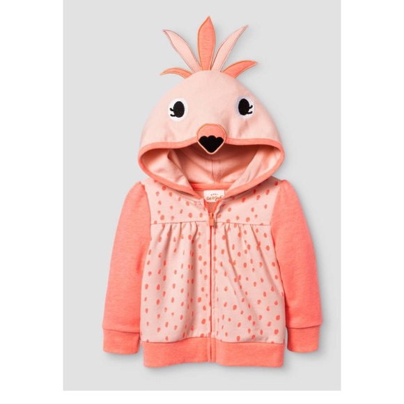 Cat Jack Shirts Tops Cat Jack Baby Flamingo Zip Up Hoodie New