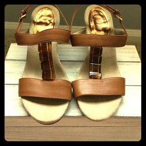 Ellen Tracy Leather Sandal Wedges