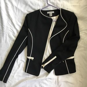 Black blouse with white piping