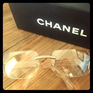 Authentic Chanel super sassy clear sunglasses