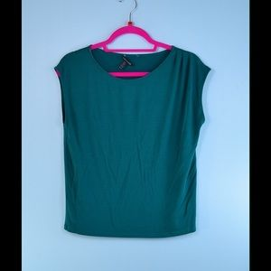 EILEEN FISHER teal stretch top XS