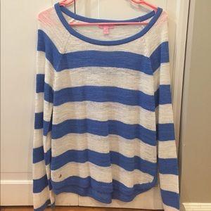 Lilly Pulitzer Blue & White Stripe Sweater SZ L