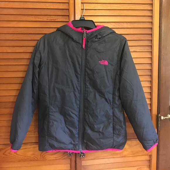 dbe3db77c Girls reversible north face jacket pink gray 14/16