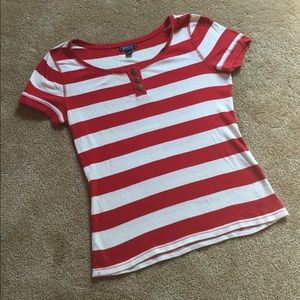 Red and White Striped Sailor Tee