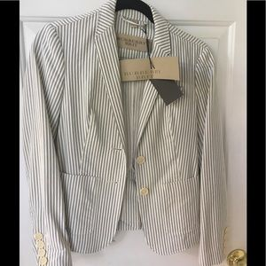 NWT Burberry Brit pinstripe fitted jacket