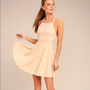 Lulus Adore You Beige Pearl Skater Dress