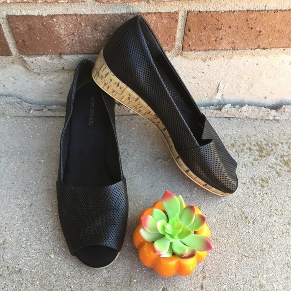 35d24911a0f44 AEROSOLES Shoes | Black Wcork Peep Toe Low Wedge Sandals | Poshmark