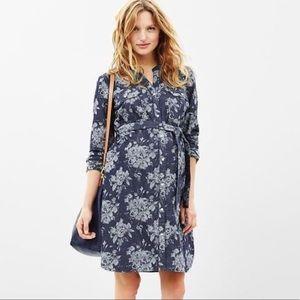 GAP Maternity Floral Denim Dress