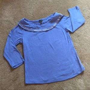 Cerulean Blue Shirt with Silver Embellishments