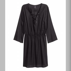 NWT H&M HM Black Dress with Lacing Cover Up