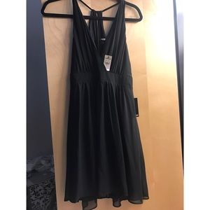 Express Black Dress with Sheer Overlay, NWT