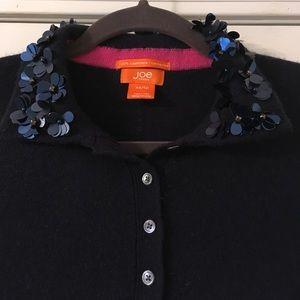 Joe Fresh 100% Cashmere blue beaded sweater XS