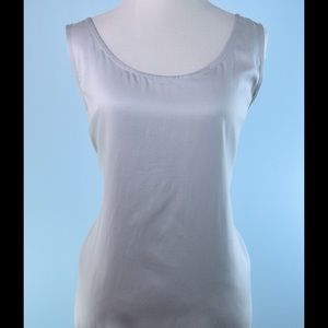 EILEEN FISHER Silver 100% silk top Large