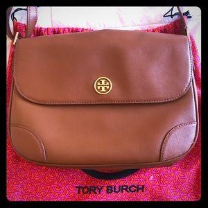 Tory Burch Camel Saffiano Crossbody Shoulder Bag!