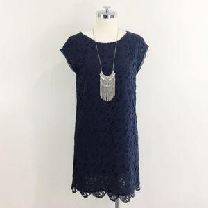 Joie - black lace cutout shift mini dress