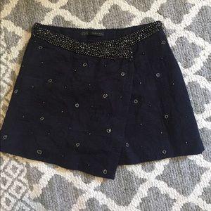 Zara Beaded Asymmetrical Mini Skirt size XS