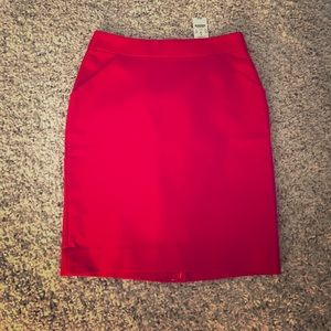 J. Crew red pencil skirt size 8