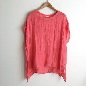 Eileen Fisher Linen Oversized Pink Striped Tee