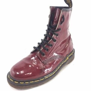 DR. MARTENS 8 Hole Red Patent Leather Boots 6