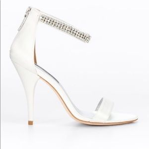 Ann Taylor White Satin and Crystal heels