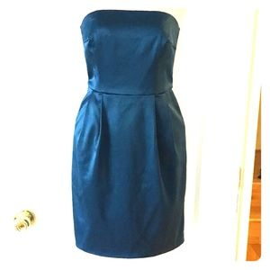 Express Teal Strapless Dress