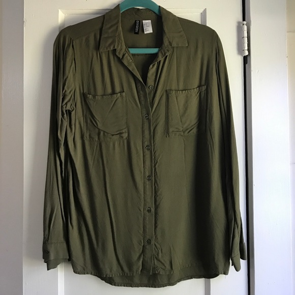 e204a7a376d28d H&M Tops | Hm Olive Green Buttondown Blouse | Poshmark
