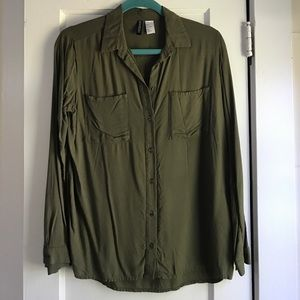 H&M Olive Green Button-Down Blouse