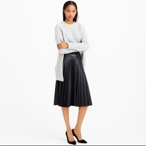 J Crew Faux Leather Pleaded Skirt