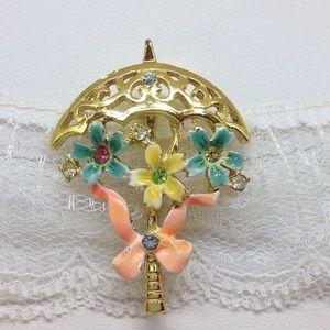 Beatrix Umbrella Shower Brooch Pin