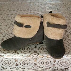 ^Cute^ Women Bow Fur Suede Wedge