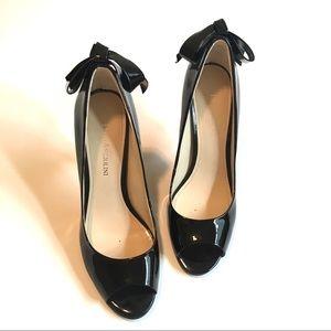 Black Patent Peep Toes, 6.5