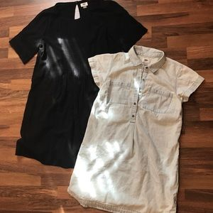 Lot bundle of 2 dresses. Chambray and black shift