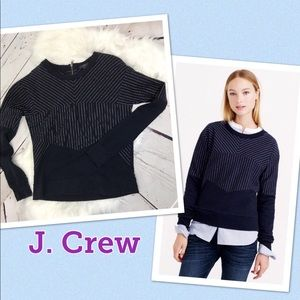 J. Crew Blue Small Pieced pinstripe sweatshirt