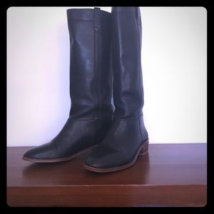 Vintage Black Leather Tall Riding Boots