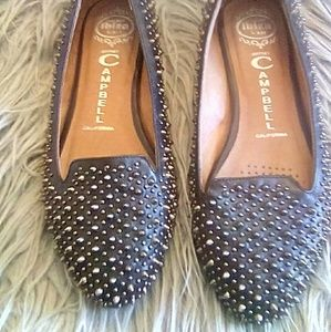 Jeffrey Campbell Black w/Silver Spiked Flats EUC