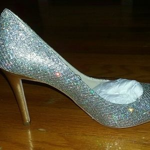 Enzo Angiolini gold silver glitter heels