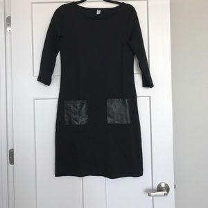 Sheath Dress with Leather Pockets