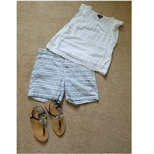 Blue and white cotton shorts