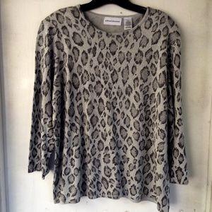 XL Silvery Gray Animal Print Sweater