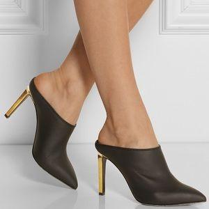 LANVIN Matte Black Mules w/ Gold Heel