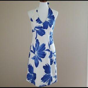Jones NY Blue & White Halter Dress