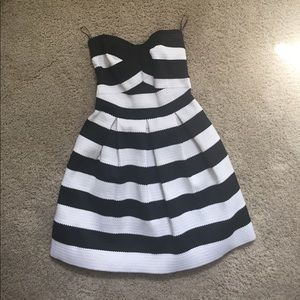 Express B&W Striped Bandage dress