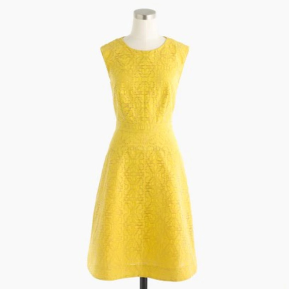 b72fa49a846 J. Crew Dresses   Skirts - J.Crew Textured yellow eyelet jacquard dress 6