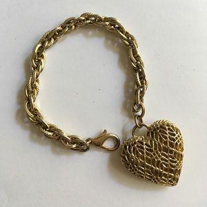 Gold Puffy Heart Bracelet